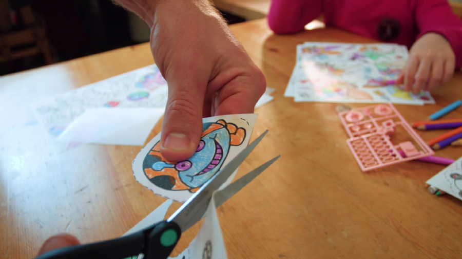 Step 3:?Cut around your Shrinkle drawings with a pair of scissors.