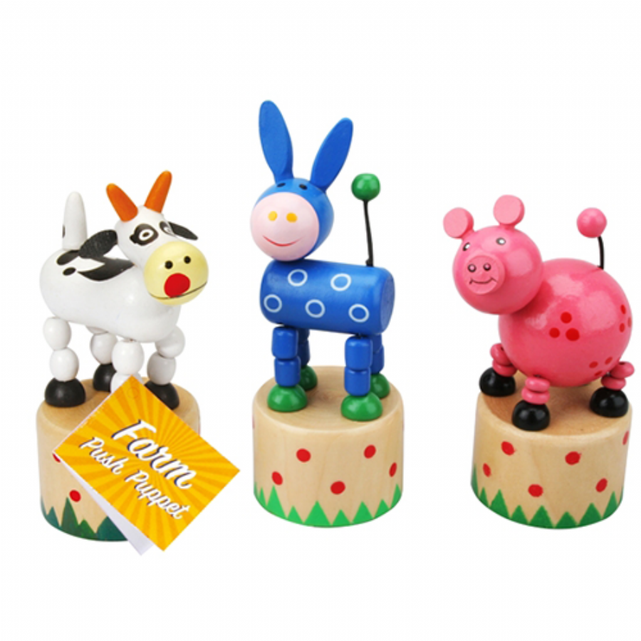 Farm Wooden Push Puppets